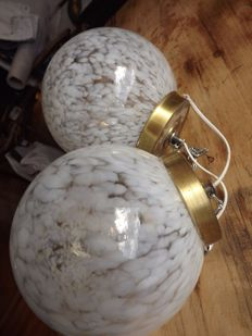 Unknown designer - 2 crystal and bronze ceiling globes, original white paint