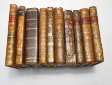 French literature; Set of 10 small leather and half leather volumes French authors - 1793/1837