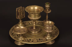 5-Piece bronze smoking set - France - ca. 1900