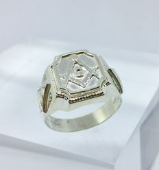925 Silver Masonic men's ring - size-11
