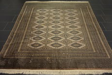 Grand hand-knotted Orient carpet Buchara Jomut silky shine 215 x 230 cm, made in Pakistan, middle of 20th century