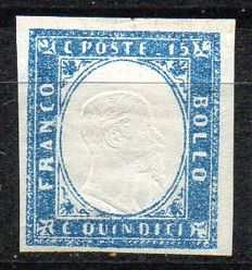 Kingdom of Italy - 1863 - 15 Cents - Milky Blue - Sassone No.  11d