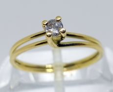 Cocktail ring made of 18 kt yellow gold with 1 diamond