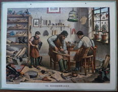 "Old school poster with the old occupation of the ""cobbler"""