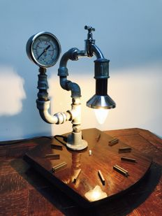 Industrial steampunk table lamp, 2nd half of the 20th century