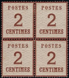 France 1871 - Stamp said to be from Alsace Lorraine 2 centimes brown-red in block of 4 - Yvert no. 2