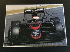 Nice framed image, personally signed by Jenson Button