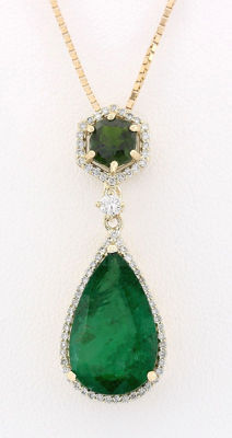 10.00 Carat Emerald And Diamond 14K Solid Yellow Gold Pendant ***Free Shipping*** No Reserve***