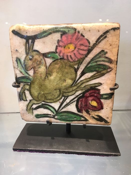 Very pretty antique polychrome tile - Iran - 17th-18th century