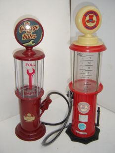 Lot of 2 decorative large gas pumps for fluids, 1970s / 1980s