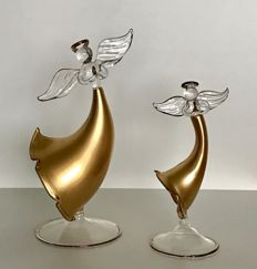 2 Christmas Angels on a pedestal with gold decoration - Venetian glass