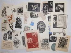 Lot with 100 ephemera and exlibris by dutch artists - 1930/2002