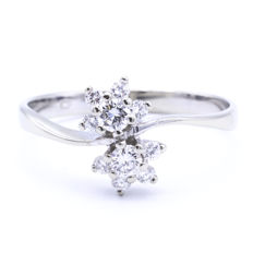 White gold fantasy ring set with approx. 0.29 ct diamonds - Vvs - H