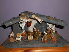 Old Nativity scene with figurines