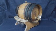 Oak wine barrel on holder with 6 etched glasses -Germany - around 1950