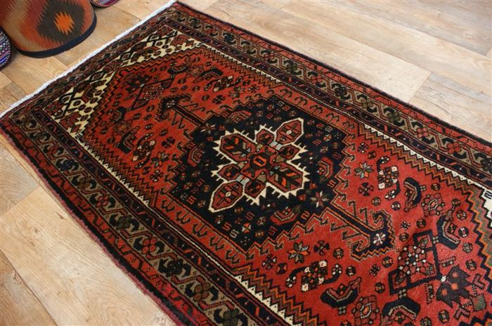 Original hand-knotted Persian carpet, oriental Mousel, approx. 187 x 98 cm. Iran