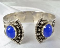 Ethnic bracelet in silver and with blue cabochons - Algeria