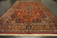 Antique hand-knotted Art Nouveau Persian palace carpet, Mashhad, patina, 300 x 200 cm, made in Iran, signed by the weaver