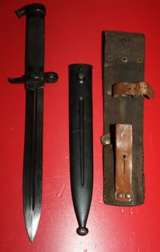 Bayonet M 1896 Sweden, matching numbers!! , in very good condition, with leather frog