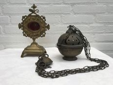 Bronze monstrance / reliquary & censer - the Netherlands - 19th century