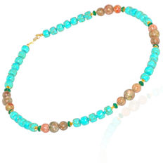 Howlite and unakite necklace with Jade pearls – Length 47 cm, 14kt/585 yellow gold clasp