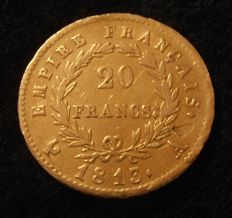 France - 20 Francs 1813 A (Paris) Napoleon I - Gold.