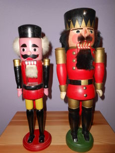 Two antique,original ,traditional Nutcrackers -true Folk art from Ore mountain