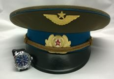 Ceremonial headdress of the Soviet pilot and wrist watch 80s years . the USSR/СССР .