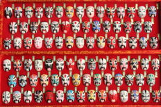 88 miniature masks of the Beijing Opera in a luxury box - China - end 20th century