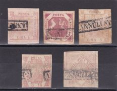 Naples, 1858 - Selection of 5 Stamps and One Free-Delivery Letter with 2 Grana