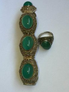 zilvere Chalcedoon armband/ring