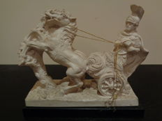 Sculpture of Roman soldier with a two horse carriage.- L Toni