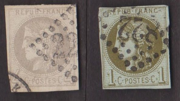 France 1870 - Bordeaux Issue - Yvert no. 39c and 41b