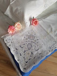 Rich cotton double sheet with cutwork embroidery and handmade floral decorations