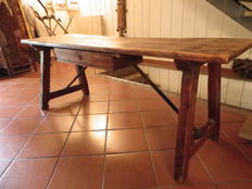 Refectory table in wood and wrought iron - Tuscany, Italy - 19th century