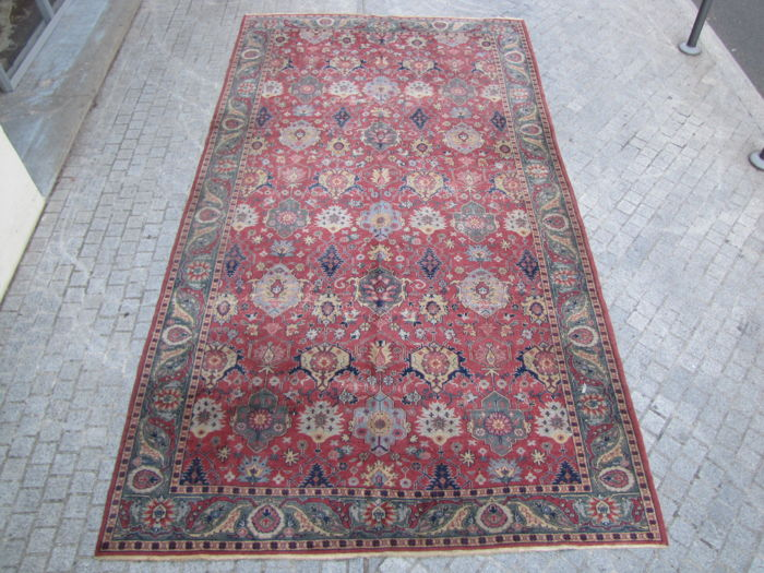 Very nice large antique Turkish Sparta carpet decorative handmade 250 x 450 cm