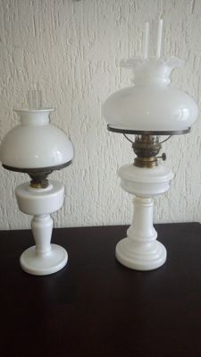 Two beautiful antique opaline oil lamps