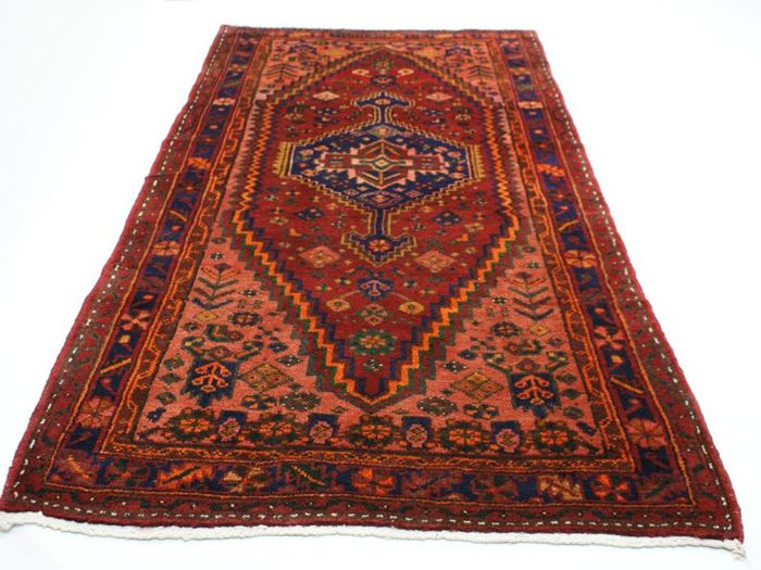 Hand-knotted original Persian carpet, oriental Mousel approx. 210 x 116 cm Iran