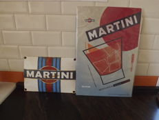 2 Martini signs ,1 enamel ironsign vintage .2 big martini limited edition in aluminium original.