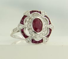 14 kt white gold ring set with ruby and 28 single cut diamonds of approx. 2.25 ct in total