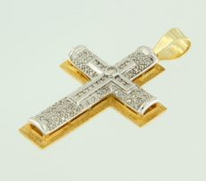 18 kt bicolour gold cross set with 83 brilliant cut diamonds, in total approx. 1.00 carat