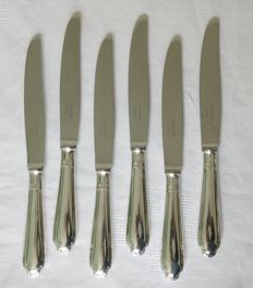 6 silver plated table knives, Christofle, Pompadour model (Louis XV style)