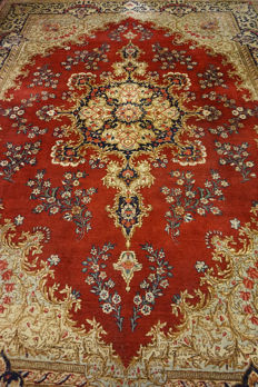 Exclusive, hand-knotted Persian palace carpet, old flowers Lavar Kerman patina,  280 x 380 cm, Tapis Tappeto Carpet