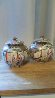 Two covered pots in polychrome porcelain - China - second half of 20th century