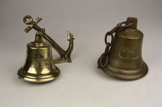2 old brass and bronze shipping bells.