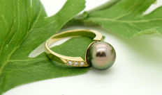 18 kt - women's - ring - Tahitian pearl - 6 brilliants 0.02 ct each, 0.12 ct in total - Size 58