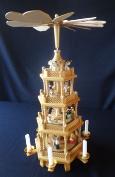 Wooden Christmas carousel / candle holder, handmade, 57 cm high