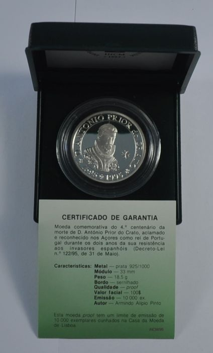 Portugal República - 100 Escudos - D. Antonio Prior do Crato 1595-1995 - Prata