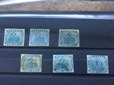 Western Australia - 4 penny swan imperforate, specialities, Stanley Gibbons 3, 3a 3i, 3a edge and 3 with Western split