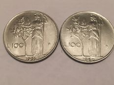 "Republic of Italy - 100 Lira 1960 and 1963  ""Minerva"""